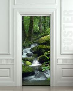 "Door STICKER mountain stream landscape scenery river mural decole film self-adhesive poster 30""x79""(77x200 cm)"