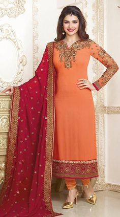 92f7e32edb Classy Orange Prachi Desai Bollywood Salwar Kameez With Red Dupatta Indian Salwar  Suit, Churidar Suits