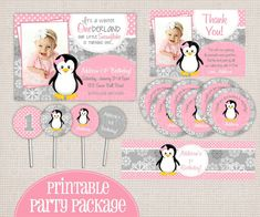 Winter ONEderland Girly Penguin Pink & Grey Printable Birthday Party Package