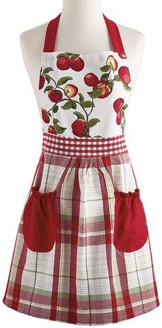 Red & White Apple Apron - Adult