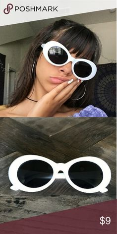 fdfc202568 White Clout Goggles Retro Oval Glasses New and never used. 90s Style Kurt  Cobain Sunglasses