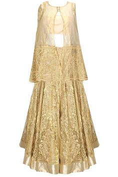 Gold fully embroidered cape lehenga set available only at Pernia's Pop Up Shop.#designer #fashion #HappyShopping #love #shopnow #rahulmishra #festive