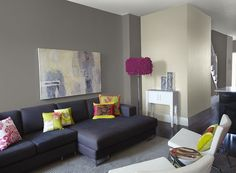 Neutral Paint Colors For Living Room | Modern living room with neutral gray paint color scheme BM Stone (2112 ...