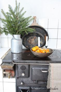 Kitchen wood burning stove in cast iron with hot water tank in copper by nordingården