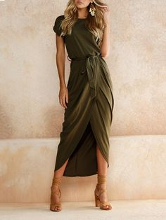 40ccc723a625 Yidarton Women s Casual Short Sleeve Slit Solid Party Summer Long Maxi Dress