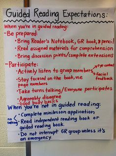 Away (Middle School Teacher to Literacy Coach) Guided Reading Anchor Chart- Downgrade for First Grade but love the Expectations poster!Guided Reading Anchor Chart- Downgrade for First Grade but love the Expectations poster! Small Group Reading, Guided Reading Groups, Reading Centers, Reading Lessons, Reading Workshop, Reading Strategies, Teaching Reading, Teaching Ideas, Reading Notes