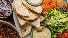 Recipe: Middle Eastern lamb and hummus pita platter - My Food Bag Tomato Sauce For Meatballs, Lamb Meatballs, Hummus And Pita, Ground Coriander, Pita Bread, 30 Minute Meals, Platter, Wine Recipes, I Foods