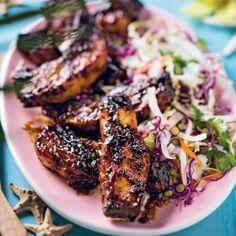 Hot and spicy jerk pork rashers with fresh coconut coleslaw Pork Belly Recipes, Recipe Search, Coleslaw, Cooking Classes, Summer Recipes, Asian Recipes, Baking Recipes, Delicious Desserts, Spicy