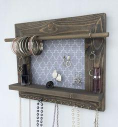 Hanging Organizer Jóias parede de madeira do celeiro exibição Detentor Colar Brinco | eBay