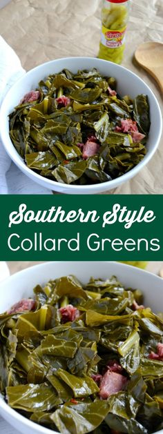 Style Collard Greens - Blue Cheese Bungalow - Southern Style Collard Greens are slow cooked with pork and taste just like grandmas. These souther -Southern Style Collard Greens - Blue Cheese Bungalow - Southern Style Collard Greens are slow cooke. Quick Collard Greens Recipe, Crockpot Collard Greens, Pioneer Woman Collard Greens Recipe, Cooking Collard Greens, How To Cook Collards, How To Cook Greens, Southern Style Collard Greens, Southern Mustard Greens Recipe, Per Diem