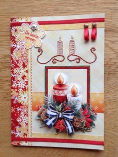 3D & embroidered christmas card with candles - 3D & geborduurde kerstkaart met kaarsen