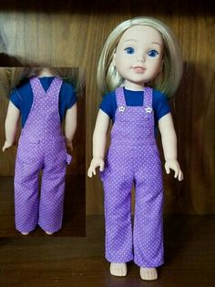 Camille in the OMG Overalls from pattern on Sewing Doll Clothes, Sewing Dolls, Girl Doll Clothes, Doll Clothes Patterns, Clothing Patterns, Girl Dolls, American Girl Crafts, American Girls, American Girl Wellie Wishers