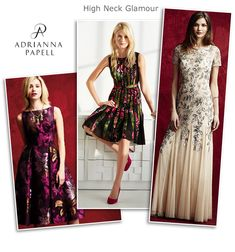 Adrianna Papell high neck cocktail dresses and beaded evening gowns
