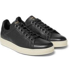 0ec2e926 TOM FORD WARWICK PERFORATED FULL-GRAIN LEATHER SNEAKERS - BLACK. #tomford  #shoes