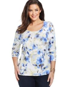 Karen Scott Scoop Neck Floral Print Knit Top Medieval Blue Yellow Shirt NWT #KarenScott #Blouse #Casual