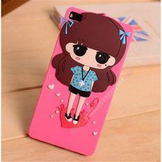 Carcasa 3D Silicona muñeco niña rosa para Huawei Ascend P8