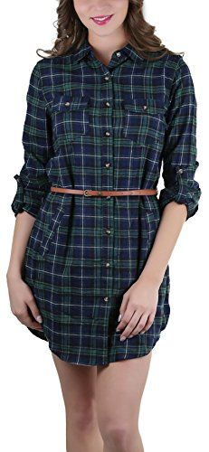 New ToBeInStyle Women's 3/4 Roll Up Sleeve Belted Plaid Shirt Dress online. Enjoy the absolute best in LA Made Dresses from top store. Sku gili42696xnne68922