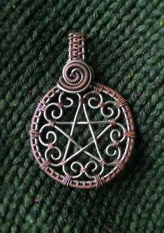 Hearts Pentacle pendant wire wrap copper pendant silver