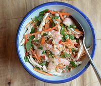 Vietnamese pommelo shrimp salad. Most fun served in the hollowed-out rind. Can also add mung bean sprouts.