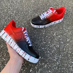 D Rob Customs is an online store providing a variety of bespoke custom trainers that are perfect for everyone. Black White Jordans, White Jordan Shoes, Jordan Shoes Girls, All Red Nike Shoes, Nike Red Sneakers, Nike Shoes Air Force, Nike Air Force Ones, Nike Fashion, Sneakers Fashion
