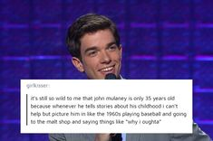 This interaction with a confused non-millennial: 17 Posts You'll Get If You Fucking Love John Mulaney John Mulaney, Funny Cute, The Funny, Hilarious, Super Funny, Tumblr Posts, Tumblr Funny, Funny Memes, Bad Memes