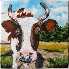 Curious Cow This is the third cow portrait that I finished lately. I enjoyed every moment of painting it!    The size of the canvas 8 x 8 x 3/4 of an