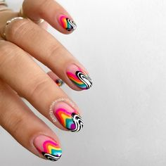 Funky Nail Art, Funky Nails, Acrylic Nail Tips, Cute Acrylic Nails, Spirit Nails, Edge Nails, Minimalist Nails, Shellac Nails, Hot Nails