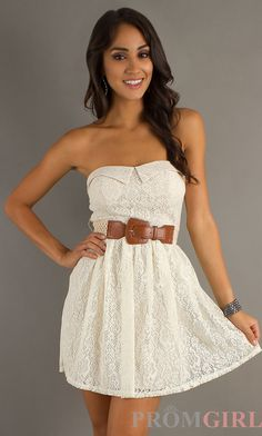 pretty belted lace dress