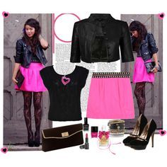 I would wear this...minus some things...but i love the leather jacket and pink skirt!