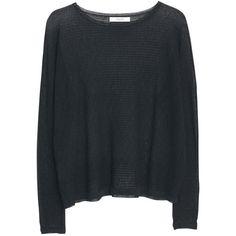 Mango Cotton Blend Textured Jumper, Black ($44) ❤ liked on Polyvore featuring tops, sweaters, shirts, lightweight long sleeve shirt, striped sleeve shirt, striped sweater, stripe shirt et striped long sleeve shirt