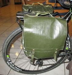 Customer submitted photos: Czech Military Surplus Rubberized Shoulder Bag Vintage Bicycle Pannier Pair 3