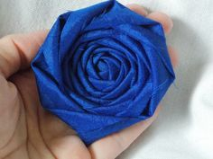 Rosette Fabric Flower Rosette Blue Hair Flower Wedding Decor Bridal Flower. $3.50, via Etsy.