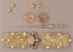 Jewelry of Queen Arnegunde (515-580), found in her grave in the Cathedral of Saint-Denis, Paris