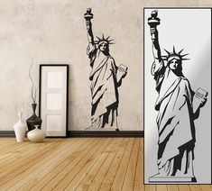 "Wall decal Statue of Liberty 23""x65"" In black or white (removable wall sticker)"