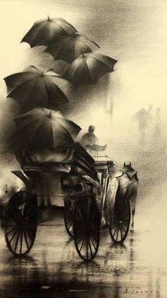artist, Ajay De's charcoal drawings & paintings. Indian artist, Ajay De's charcoal drawings & paintings. Indian artist, Ajay De's charcoal drawings & paintings. Landscape Pencil Drawings, Pencil Art Drawings, Abstract Landscape, Charcoal Sketch, Charcoal Art, Charcoal Drawings, Arte Steampunk, Black Paper Drawing, Art Drawings Sketches Simple