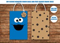 Cookie Monster Favor Bags / Sesame street Favor bags / gift