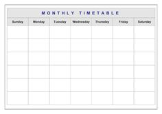 Need a Sunday to Saturday classroom timetable template? This one has your day already divided up into sessions. All you need to do is add the activities.