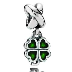 Pandora Four Leaf Clover with Green Enamel Dangle