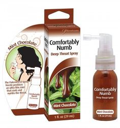 Comfortably Numb is a flavoured desensitizing spray specially formulated to reduce the discomfort associated with oral sex. The refreshing mist contains a mild numbing agent that coats the back of the throat, helping to suppress gag reflex Menta Chocolate, Chocolate Flavors, Ariane Massenet, Gag Reflex, Throat Spray, Comfortably Numb, Strep Throat, Best Oral, Mint