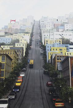 San Francisco - This is actually a wall painted to look like San Fransisco. Places Around The World, Oh The Places You'll Go, Places To Travel, Places To Visit, Around The Worlds, Travel Destinations, San Francisco, Adventure Is Out There, Wonders Of The World
