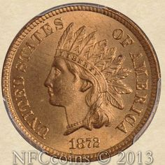 1872 Indian Head Cent MS65 PCGS Red, obverse