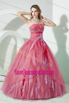 Pretty Watermelon Strapless Organza Sweet 15 Dresses with Appliques