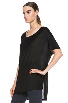 Slouchy black tee: perfect for layering, and the cut of this version is so fashion-forward. Have one, may buy another now that it's on sale. | Acne