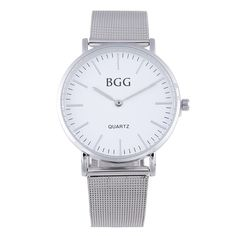 BGG Simple style Mens casual Watches female Business Quartz watch women silver Mesh band Military Wristwatch Ladies clock hours #Affiliate