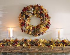 i love colors and textures in this fall leaf wreath from Williams-Sonoma.