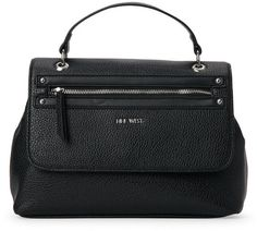 """nine west Black Get Poppin Top Handle Satchel - Pebbled faux leather exterior, single flat handles, snap-flap opening with zip pocket, snap-extended sides Silver-tone hardware, optional and adjustable shoulder, fabric interior lining, interior zip and slip pockets 11"""" L x 8"""" H x 4"""" W"""