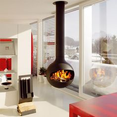 Modern Red And White Room Idea Feat Roller Window Blind Plus Unique Floating Fireplace Design Unique Fireplace Designs Making Big Impression in Home Interior Fireplace Design