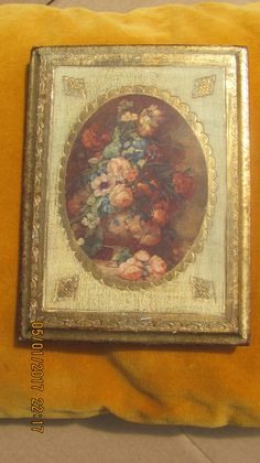 REDUCED Vtg Gold Gilt Tole Wood Ornate Wall Picture Fancy Framed Cabbage Roses…