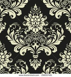 Floral pattern. Wallpaper baroque, damask. Seamless vector background. Gold and black ornament