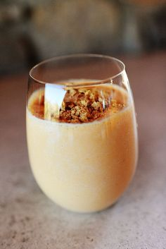 Pumpkin Pie smootie 1 can (15 Oz. Size) Pumpkin Pie Filling 3 cups Whole Milk (more If Needed) 1/2 cup Vanilla Yogurt (up To 1 Cup) A Few Dashes Of Cinnamon Cinnamon Graham Crackers, Crushed